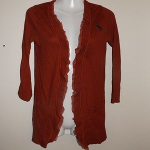 A&F Red Open Front Ruffle Cardigan S